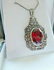 Art Deco Red Garnet and Marcasite Pendant Necklace Sterling Silver