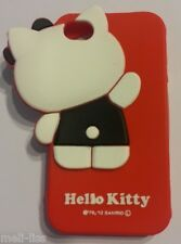 Hello Kitty-Soft Rubber 3D Red Cover Case Silicone Skin for iPhone 4-4S