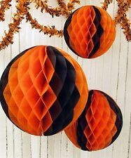 "Small 12"" Halloween TISSUE BALL Orange and Black *Great for Vintage Retro Decor"