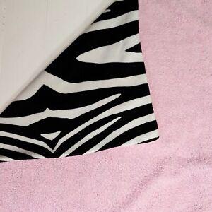 "Zebra Print Baby Blanket Black/white Velour Pink Sherpa 28"" × 36"""