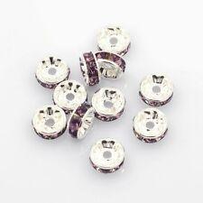 10 x 6mm Rhinestone Brass Amethyst Spacer Beads