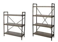Steam Industrial Pipe Bookshelf Shelving Unit Solid Chunky Wooden Shelf Retro