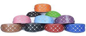 Leather Whippet Collar Greyhound Collar Padded Diamante Cross Stitch Design