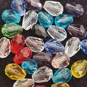 30 Mixed Faceted Teardrop Glass beads - 8mm