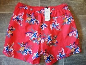 Next BNWT Mens Red Hawaiian Swim Shorts Size XL