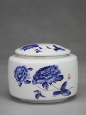 Chinesische Teedose Porzellan Chrysantheme Keramik mit Aromaverschluss blau-weiß