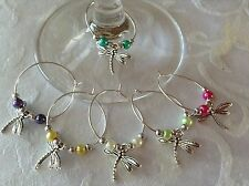 6 Dragonfly Wine Glass Charms Table Decoration Wedding Birthday Party Hen Night
