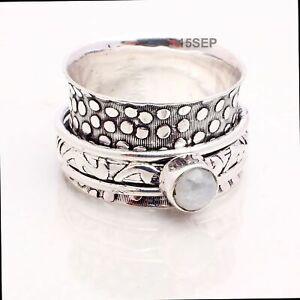 Rainbow Moonstone Gemstone Ethnic Jewelry Handmade Spinner Ring Size 8 CR-12720