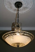 Antique white frosted 16 inch glass art deco light fixture ceiling chandelier