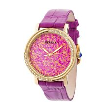 Bertha Courtney Women's Real Opal Dial Crystal Hot Pink Leather Watch BR7903