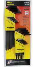 20pc Standard 1/16-1/4 Hex (Allen) End Short/Long L-Wrench Set Bondhus USA 22138