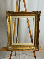11 x 14 Ornate Wooden Frame, Gold Gesso with Linen Lining
