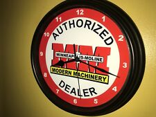 Minneapolis Moline Farm Tractor Barn Store Garage AuthDealer Wall Clock Sign