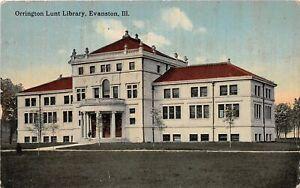 H71/ Evanston Illinois Postcard c1910 Orrington Lunt Library Building 184