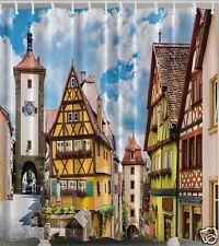 Old Town Germany Charm Fabric SHOWER CURTAIN Cobblestone Village Clock Shop Bath