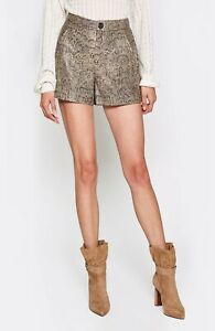 $498 NWT JOIE Sz6 ABREAL HIGH RISE PYTHON PRINT LAMB LEATHER SHORTS GRAVEL