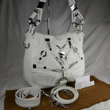 Authentic Rare Gucci Techno Horsebit White Leather Large Hobo Shoulder Bag ExCon