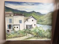 tableau ancien huile sur panneau GINE 83  (XXe-s) paysage