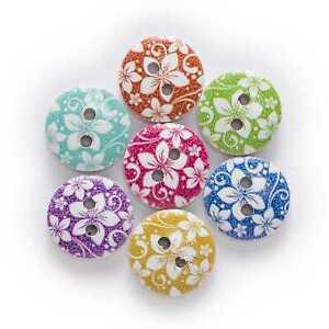 50pcs Mixed Flower Printing Wooden Buttons Scrapbook Sewing Handwork Decor 15mm