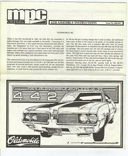 MPC 1969 Oldsmobile Cutlass 442 Model Instruction Sheet (Instructions Only)