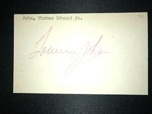 FUTURE HOF: Tommy John, SIGNED 3x5 (BSJ)