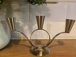 Retro Vintage Danish Stainless Steel Candle Holder Candelabra Mid Century