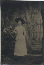 TINTYPE OF BEAUTIFUL YOUNG GIRL IN OUTDOOR STUDIO SCENE W/ NAME ON THE BACK