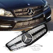 FRONT BLACK GLOSS GRILL FOR MERCEDES W204 07-14 C63 AMG LOOK SPOILER 204060