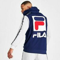 Mens Fila Jacopo Hoodie Blue/Peacoat/Chinese Red - LM935399 410 Size Medium