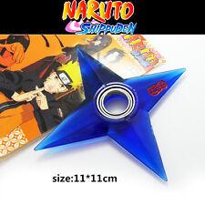 Anime Naruto Uzumaki Logo Hand Spinner Plastic Shuriken Cosplay Darts Toy Blue