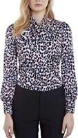 BNWT Hawes & Curtis Lulu Pastel Leopard Print Pussy Bow Shirt - Size 6