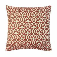 "LUXURY TANGIER BAROQUE BURGUNDY RED THICK CHENILLE CUSHION COVER 24"" - 60CM"