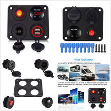 6-24V LED Voltmeter+Dual USB Car Charger+On-Off Switch+Power Socket 4 Hole Panel