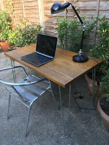Rustic Handmade Industrial Desk with hairpin legs.
