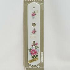 NEW Vintage French Limoges Porcelain Finger Door Plate White Pink Floral