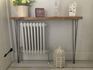 Reclaimed Rustic Wood Hairpin Leg Radiator Hallway Console Table Shelf