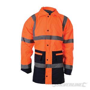 Hi-Vis 2-Tone Hooded Coat / Jacket. Hi-Visibility Orange. Tracked Delivery.