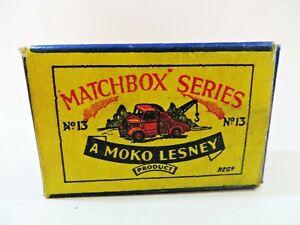 MATCHBOX LESNEY MOKO 13a 'BEDFORD WRECK TRUCK' EMPTY ORIGINAL B1 BOX ONLY. GOOD.