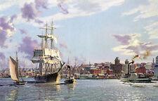 "John Stobart Print - Portland: The Bark ""Halcyon"" Towing Outi n 1876"