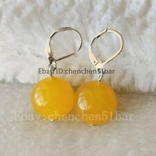 Edle Perlmutt Tropfen Ohrringe Ohrhänger Earrings mit gelbe Honig Jade Kugeln