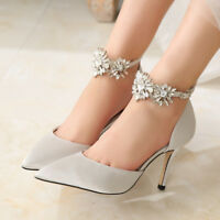 Sexy Women's Stiletto High Heel Shoes Point Toe Rhinestone Pumps Wedding Dress