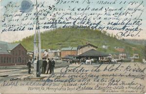 Warren PA * Pennsylvania RR Depot  1907  Crossing Arm
