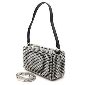 Women Mini Rhinestone Pouch Bag Crystal Cut Top Handle Chain Strap Handbag Bling