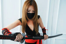 Sexy Deadly Ninja Red Black V-Neck Women Costume Suit fo Cosplay Halloween Party