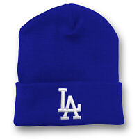 Los Angeles Dodgers Long Beanie Skull Cap Hat Embroidered LA LAD Cuff Cuffed