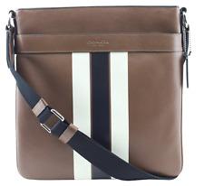 Coach F54193 Men's Charles Crossbody Bag Signature Varsity Leather Dark Saddle