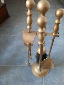 Vintage brass fireside companion set - tongs, poker, brush & shovel