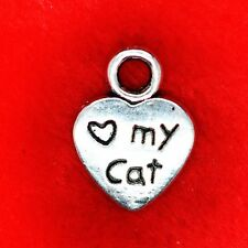 10 x Tibetan Silver Heart Love My Cat Paw Charm Pendant Finding Beading Making