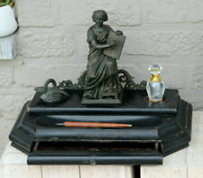 Rare antique napoleon III wood carved spelter bronze statue inkwell pen