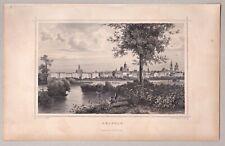 Leipzig, Sachsen - Gesamtansicht - Stich, Stahlstich J. Poppel 1860